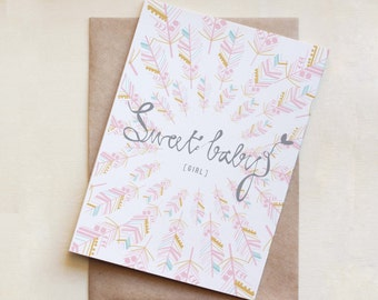 New Baby Card, Baby Girl, Greeting Card, Sweet Baby, Feathers