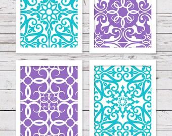Turquoise Art, Purple Art, PRINTABLE Art, Bedroom Art, INSTANT DOWNLOAD, Girl Wall Art, Digital Printable Art, Art Prints, Purple Wall Decor