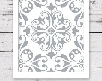 PRINTABLE Art, Silver Gray Art, Bedroom Art, Digital INSTANT DOWNLOAD, Gray Artwork, Bathroom Art, Home Decor, Damask Art