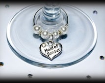 Wedding favour wine glass charms.  Top table and other roles available. Make great table decorations and favors Bride Bridesmaid Flower girl