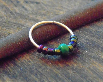 Turquoise nose ring, nose hoop, cartilage ring , turquoise nose hoop, turquoise septum