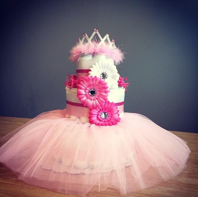 princess diaper cake with tutu tiara and by jennyknickdesigns