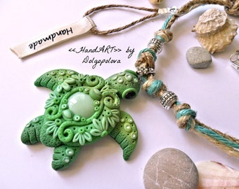 Marine necklace with turquoise turtle - turtle pendant -  Polymer clay - Jewelry - mothers day -boho pendant - boho style - marine necklace