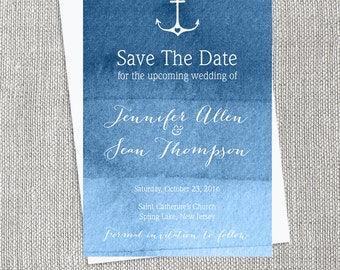 Nautical Save The Date / Ombre Navy Watercolor / Stylish Wedding Card ▷ Printed Wedding Invitations {or} Printable