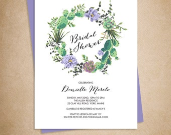 Floral Bridal Shower Invitation / Lavender Purple Flowers, Cactus Succulent / Mexican Fiesta Invite  ▷ Printed Heavy Paper {or} Printable