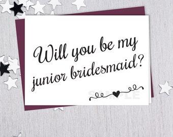 Be My Junior Bridesmaid // Will You? // Wedding Card DIY // Elegant Calligraphy & Heart Printable PDF // Classic Elegance ▷ Instant Download