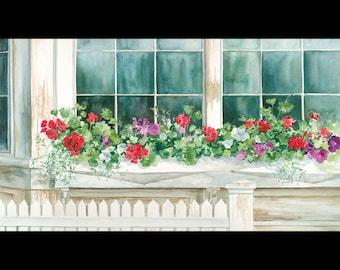 "Geranium painting with window box, ""Window Garden"" watercolor print 9x16."