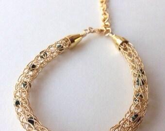 Gold and Gems Viking Knit Bracelet