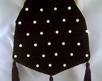 Black Velveteen Shoulder Purse Pearls & Quilting #2 - Renaissance