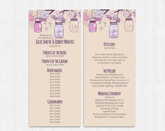 Purple Wedding Program, Rustic, Beige, Double sided Program, Printable file, Printable program, backside programs, mason jar, program, mauve