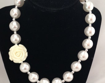 Ivory Rose pearl chunky girls necklace