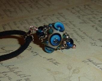 Beige blue Handmade Lampwork Pendant, Lampwork Pendant,, Glass Pendant