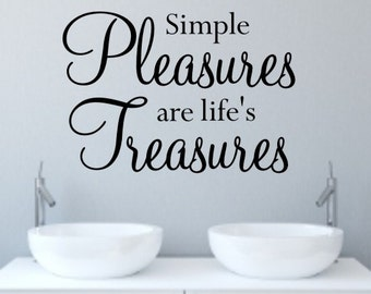 Simple pleasures wall art quote sticker by Createworks H547K