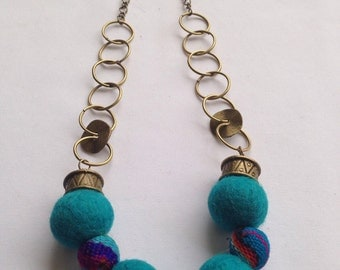Handmade felted wool, aguayo and bronze necklace