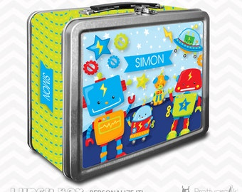 SALE Robot Lunch box, personalized lunch box, chalkboard inside for notes, custom name lunch box, Metal lunch box - LB120