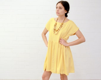 Rayon Smock Dress. Women's Bright Marigold, Loose Fit, Classic, Casual Summer Dress.