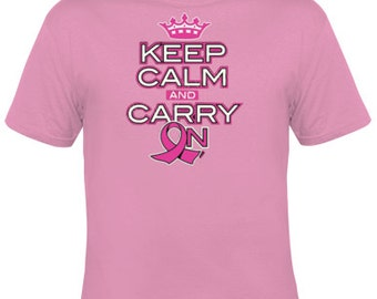 Keep Calm and Carry On - Pink Ribbon - TShirt -- FREE SHIPPING