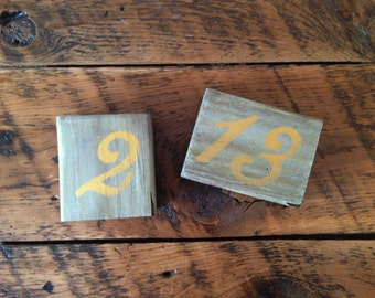 Wedding Table Numbers | Wood Table Numbers | Rustic Wedding Décor | Gold & Sage