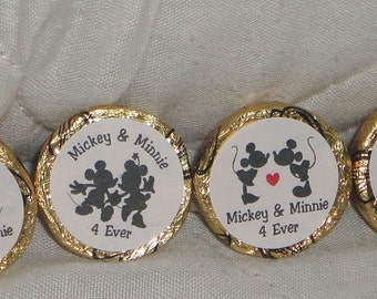 96 PERSONALIZED Mickey & Minnie Mouse Wedding/Engagement/Anniversary Kiss/mini bubbles Labels @*Peel N Stick