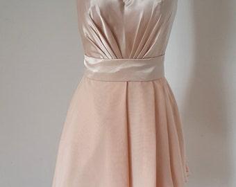 2015 Asymmetrical Light Peach Lace Chiffon Short Bridesmaid Dress