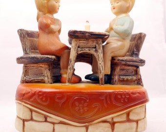 Vintage Music Box, Little Boy and Girl Saying Prayer at Table, Rotating, Price Import Japan