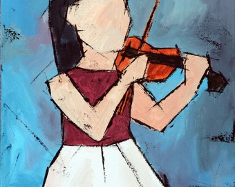"Original painting, Blue painting,  Acrylic colorful panting, ""The Little Violinist""  24H x 18W, from Art Factory Gallery"