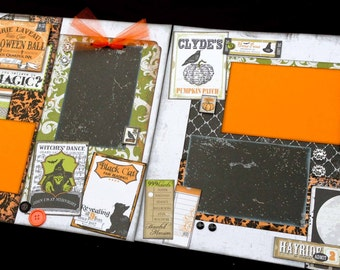 12x12 Halloween Scrapbook page kit, 12x12 Premade Halloween Scrapbook, 12x12 Premade Scrapbook pages, 12x12 Scrapbook Page