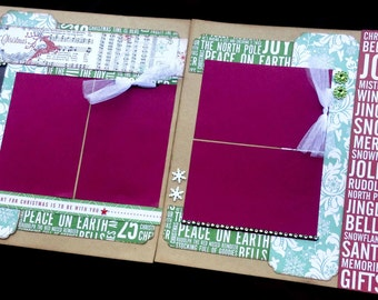 12x12 Christmas Scrapbook Page Kit, 12x12 Premade Christmas Scrapbook, 12x12 Premade Scrapbook pages, 12x12 Scrapbook Page
