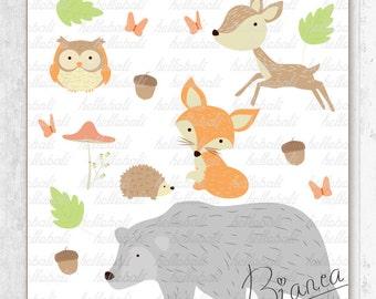Woodland Creatures, Forest Animal Friend, Clipart, Scrapbook, Clip Art, Flower, Acorn, Jungle, Fox, Bear, Owl - SET A [Instant Download]