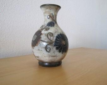 Belgian ceramic vase with flowers from Bastogne