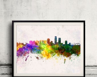 Corpus Christi skyline in watercolor background 8x10 in to 12x16 Poster Digital Wall art Illustration Print Art Decorative  - SKU 0150