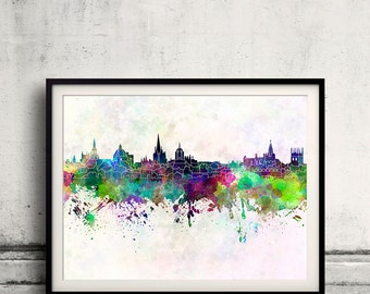 Oxford skyline in watercolor background 8x10 in to 12x16 Poster Digital Wall art Illustration Print Art Decorative  - SKU 0163