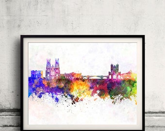 York skyline in watercolor background 8x10 in to 12x16 Poster Digital Wall art Illustration Print Art Decorative  - SKU 0183