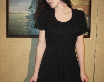 Black Short Sleeve Dress with Black Lace Detailing and Front Buttons
