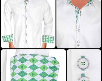 St Patrick's Day Men's Designer Dress Shirt - Made To Order in USA