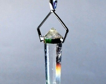 Double Terminated Clear Quartz Pendant Necklace Natural Crystal