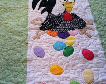 Chicks & Eggs Easter Wall Hanging/Table Runner.  Ready to ship!