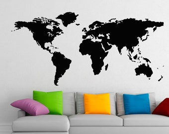 World Map Wall Decals Geographic Vinyl Stickers Countries Wall Decor Art Mural Home Decor for Living Room, Decal for Office C030