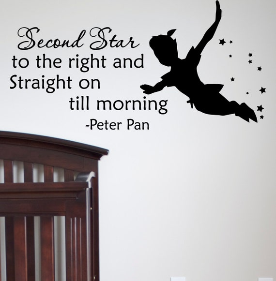 Peter Pan Silhouette Wall Decal Quote Second Star by ...