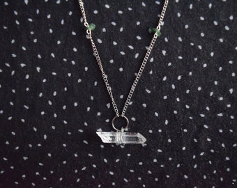 Crystal necklace with sea glass beads