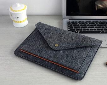 "Dark Grey Felt Macbook Pro 13 Case , Felt Laptop Sleeve 13 inch , Felt 13 Macbook Air Case , 2016 13"" Macbook Pro #216"