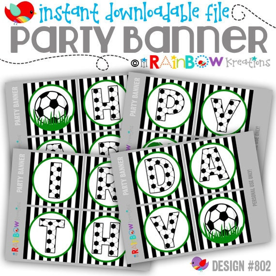 PRTYB-802: DIY - Soccer Party Banner - Instant Downloadable File