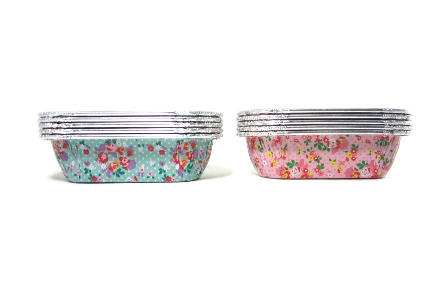 Mini Floral Bread Loaf Tins Set Of 10 Petite Aluminum Pound