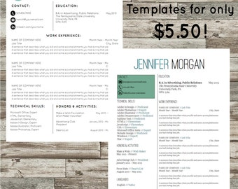 2 Resume Templates | Instant Download | Microsoft Word | Cover Letter | References List