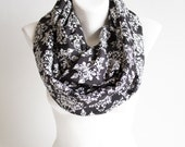 Oversized Scarf. Black and white scarf. Damask Print  Scarf, Woman's Scarf, Women's Scarves,  Gift for Her
