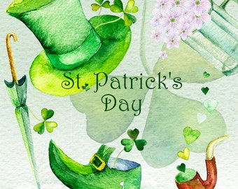 St. Patricks Day, Watercolor Saint Patrick's Day Clip art, Shamrock Clipart, transparent, digital png, printable