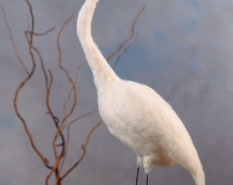 Great Egret wool felted handmade bird