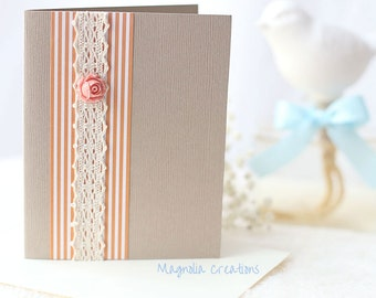 Set of Two Textured Sand Blank Card with Orange Stripes, Lace and Rose, Blank Cards Set with Envelopes, Any Occasion Card