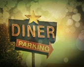 Vintage Retro Diner Sign Photography ~ Bokeh Photography ~ Old Sign Photograph Original Print ~ 8x10  11x14  16x20