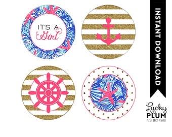 Lilly Pulitzer Inspired Baby Shower Cupcake Topper / Starfish Cupcake Topper / Nautical Cupcake Topper / DIY Printable /  *Digital file*